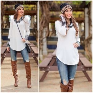 LAST ONE! Ivory Cowl Neck Sweater Knit Tunic